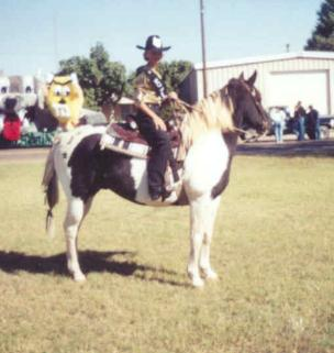 Ashlea as the Roosevelt County Fair Princess 2000. Preparation for competition was traumatic for both of us - but we survived. The horse is Tag, one of the first two we started t he school with. He passed away.