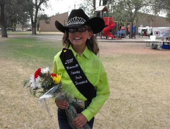 She took regular lessons with her horse and won the title of Roosevelt County Fair Sweetheart.