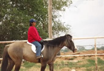 Introducing her mare to the English way of riding. She has been used just for western prior to this.